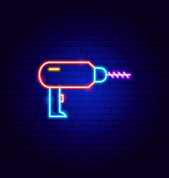 Drill neon sign vector