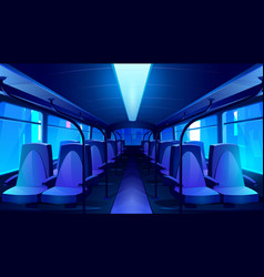 empty school bus interior at night vector image