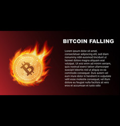 falling bitcoin coin in fire red market vector image