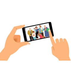 family selfie icon vector image