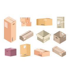 flat cardboard boxes carton parcels delivery vector image