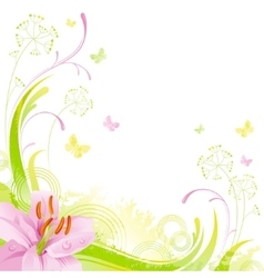 Floral summer background with red pink lily leafs vector image
