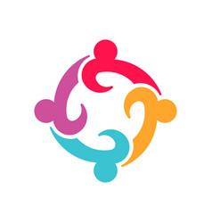 four entrepenurs teamwork people logo design vector image