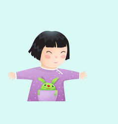 funny asian kid girl with pocket monster walking vector image