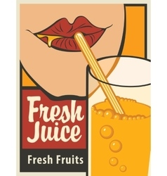 girl is drinking a glass of fresh juice vector image