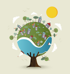 green planet earth tree with sustainable city vector image