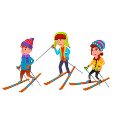 group of character standing children skier vector image