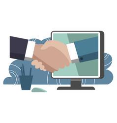 Handshake with technology vector