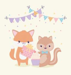 happy birthday fox squirrel gift celebration vector image