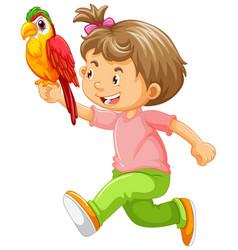 Happy girl holding parrot vector