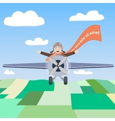 Happy pilot of the airplane in the sky vector image