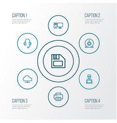 Hardware outline icons set collection of storage vector