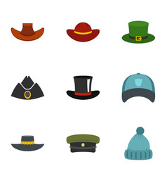 hat style icon set flat style vector image