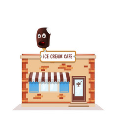 ice cream cafe colorful store front on white vector image