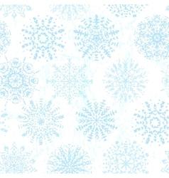 Ink hand drawn vintage snowflakes seamless pattern vector