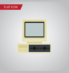 Isolated pc flat icon computer element can vector
