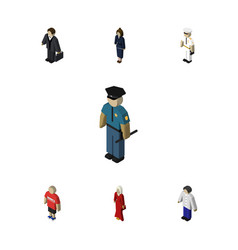 Isometric people set of officer guy seaman and vector