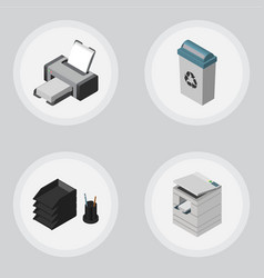 Isometric work set of scanner garbage container vector