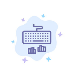 Keyboard interface type typing blue icon on vector