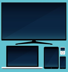 Lcd tv smartphone and tablet and laptop vector image
