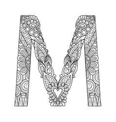 mandala letter m monogram vector image