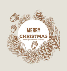 Merry christmas wreath sketch style composition vector