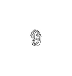 number 9 lettering vector image