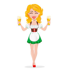 oktoberfest beer festival sexy redhead girl vector image