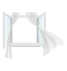 open window and fluttering curtains vector image