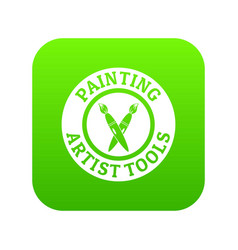 Painting tool brush icon green vector