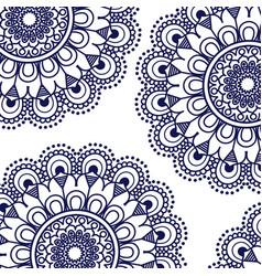 Pattern dark blue of flowers mandala decorative vector