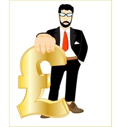 Persons with sign pound sterling vector