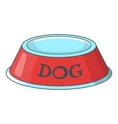 Pet dog bowl icon cartoon style vector