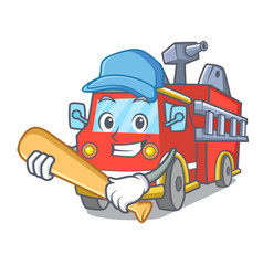 playing baseball fire truck character cartoon vector image