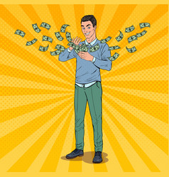 Pop art rich man throwing dollar banknotes vector