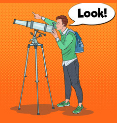 pop art young man looking through a telescope vector image