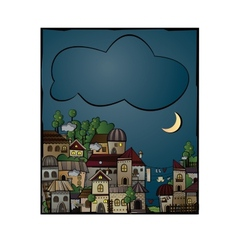 postcard with cartoon construction night town vector image