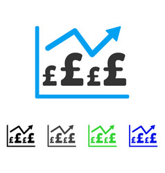 Pound financial graph flat icon vector