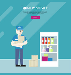 quality service in grocery shop web banner vector image