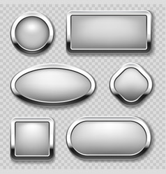 Round chrome button collection on transparent vector
