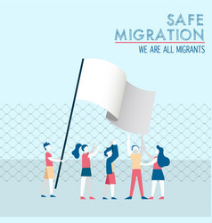safe migration concept diverse children group vector image