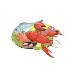 Seafood on plate shrimp lobster shellfish vector