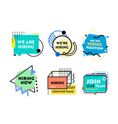 set banners for recruiting and job hiring vector image