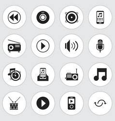 set of 16 editable mp3 icons includes symbols vector image