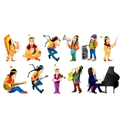 Set of american indians music vector