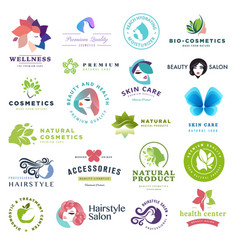 Set of beauty and cosmetics concept icons vector