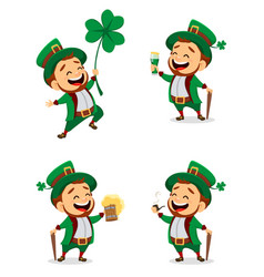 Set of cartoon funny leprechaun vector