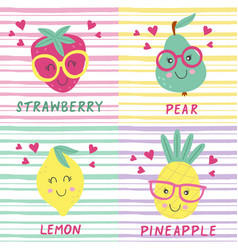 set of posters with cute fruits vector image