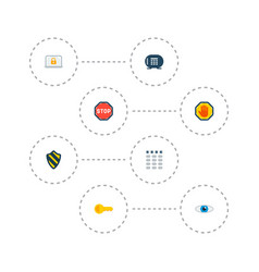 set of security icons flat style symbols with stop vector image
