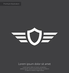 Shield wings premium icon vector